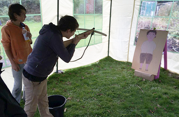 Crossbow activity at the apple festival in Trowbridge